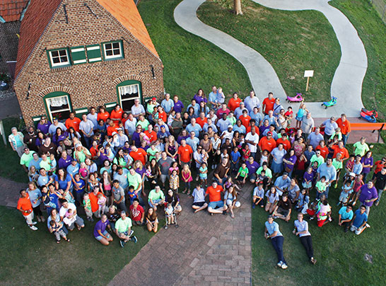 Overhead photo of a group at Dutch Village in Holland MI